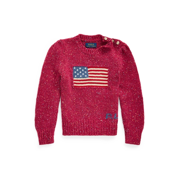 폴로 랄프로렌 여아용 스웨터 Polo Ralph Lauren Flag Wool-Blend Sweater,Pink Donegal
