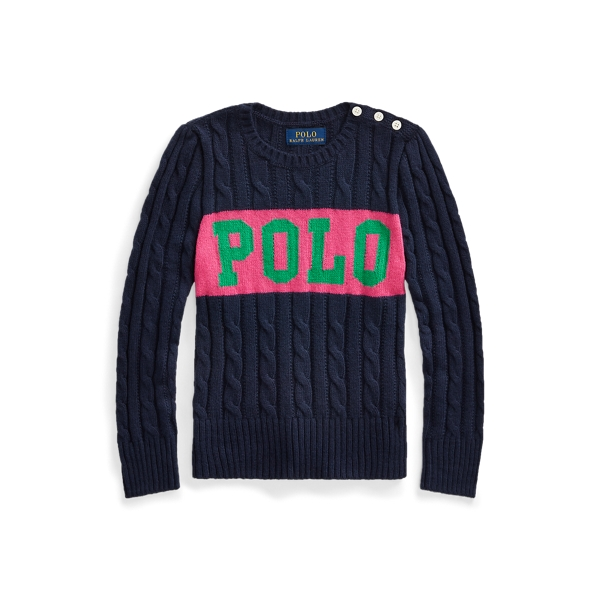 폴로 랄프로렌 Polo Ralph Lauren Logo Cable-Knit Sweater,RL Navy Multi