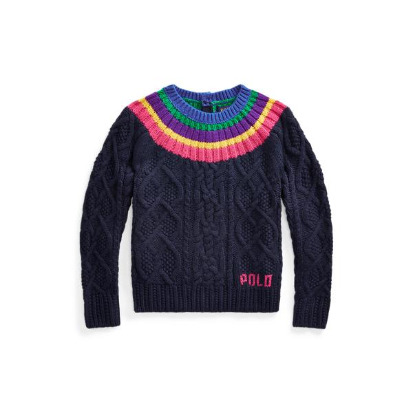 폴로 랄프로렌 Polo Ralph Lauren Aran-Knit Fun Sweater,RL Navy Multi