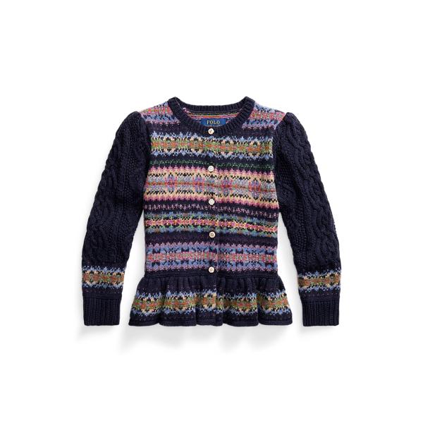 폴로 랄프로렌 여아용 페어 아일 스웨터 Polo Ralph Lauren Fair Isle Peplum Sweater,RL Navy