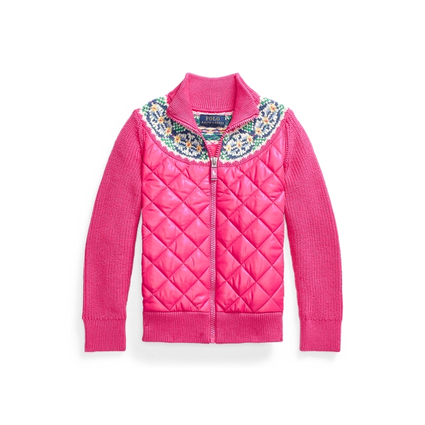폴로 랄프로렌 여아용 스웨터 Polo Ralph Lauren Hybrid Full-Zip Sweater,College Pink