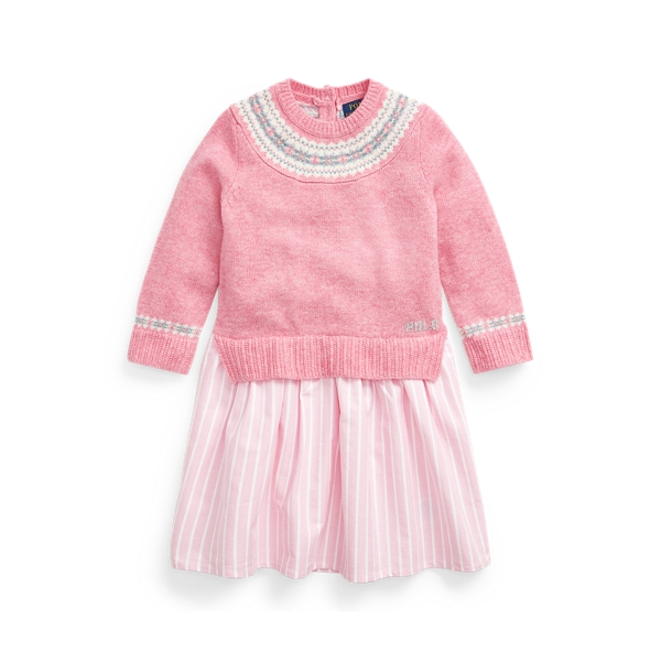 폴로 랄프로렌 여아용 원피스 Polo Ralph Lauren Fair Isle Sweater Dress,Preppy Pink Heather