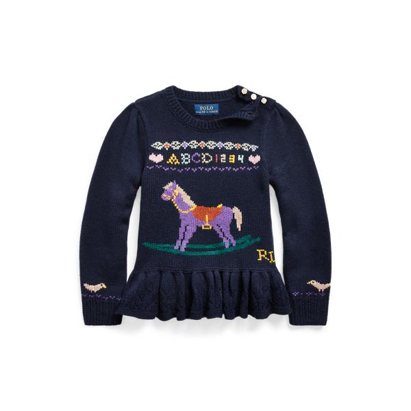 폴로 랄프로렌 Polo Ralph Lauren Intarsia-Horse Wool Sweater,RL Navy
