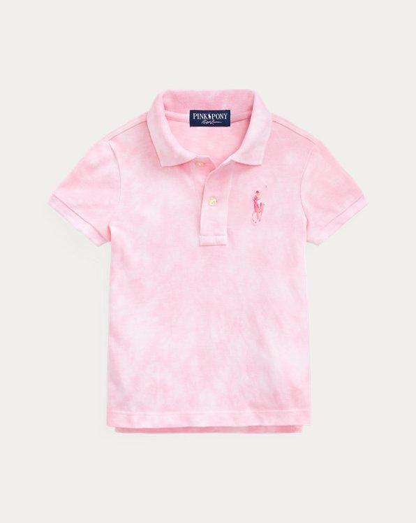 Batik-Polohemd mit Pink Pony