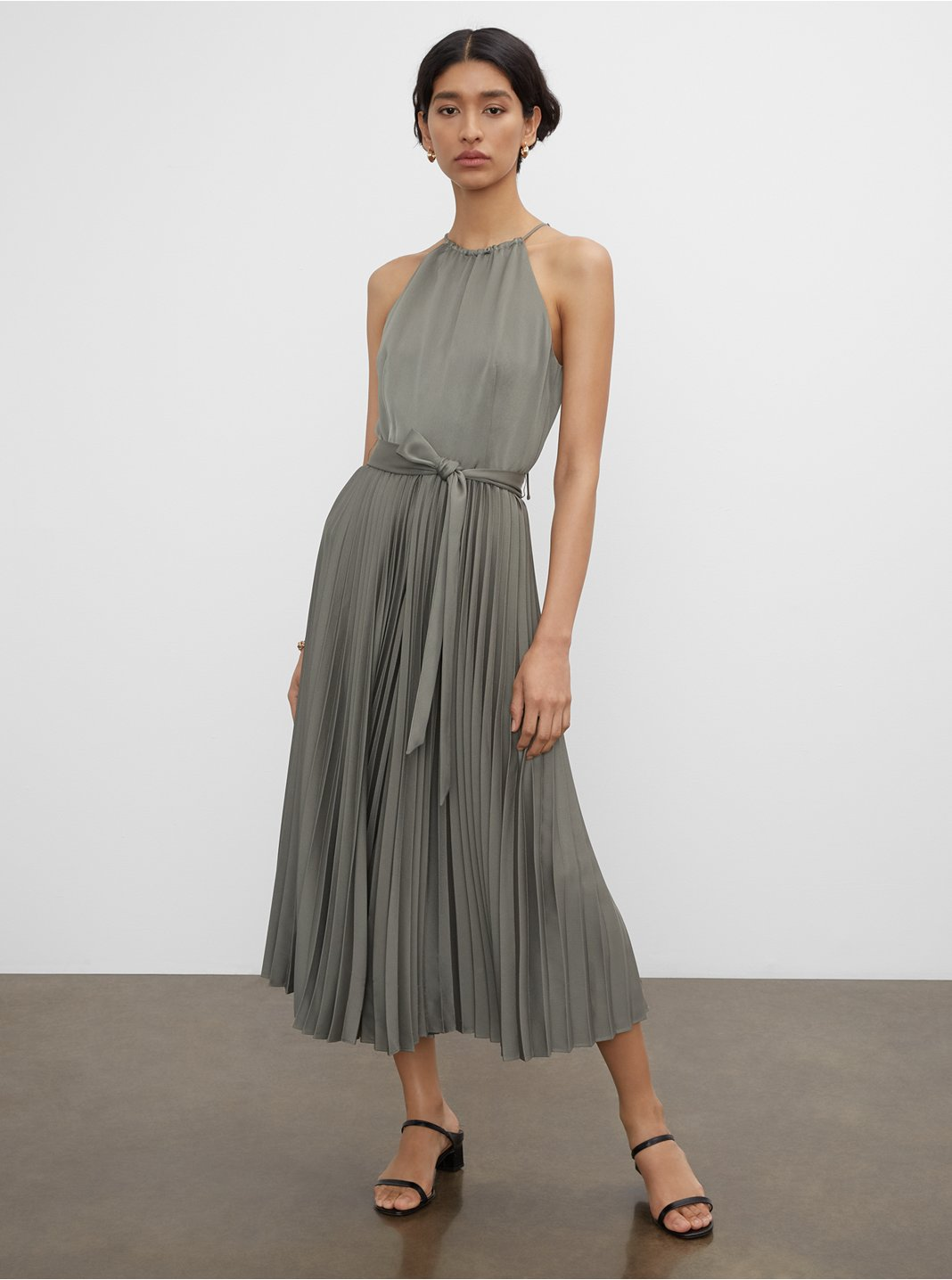 Pleated Tie Neck Jumpsuit