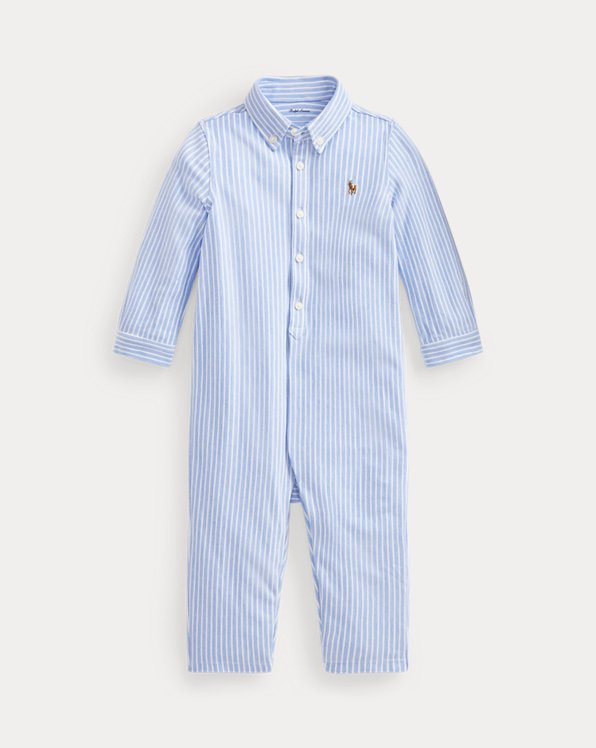 Striped Knit Oxford Coverall