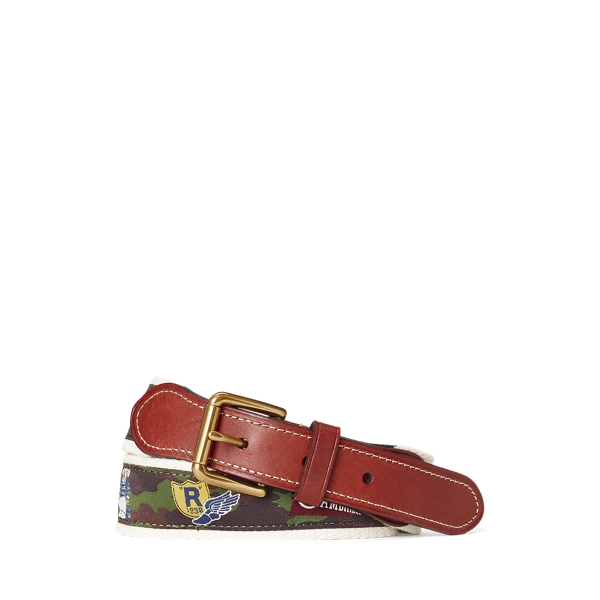 폴로 랄프로렌 보이즈 벨트 Polo Ralph Lauren Varsity-Inspired Leather-Tip Belt,Camo