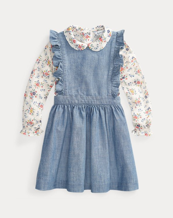 Floral Top and Ruffled Dress Set