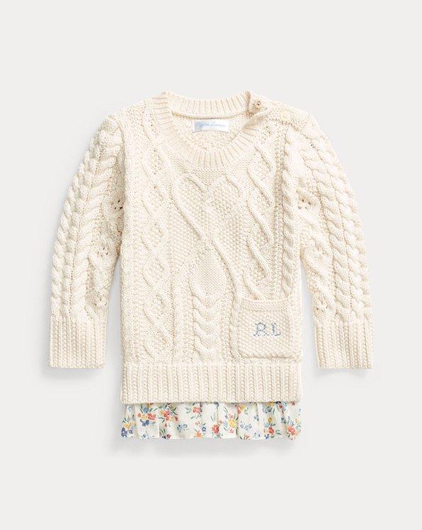 Floral-Hem Aran-Knit Jumper