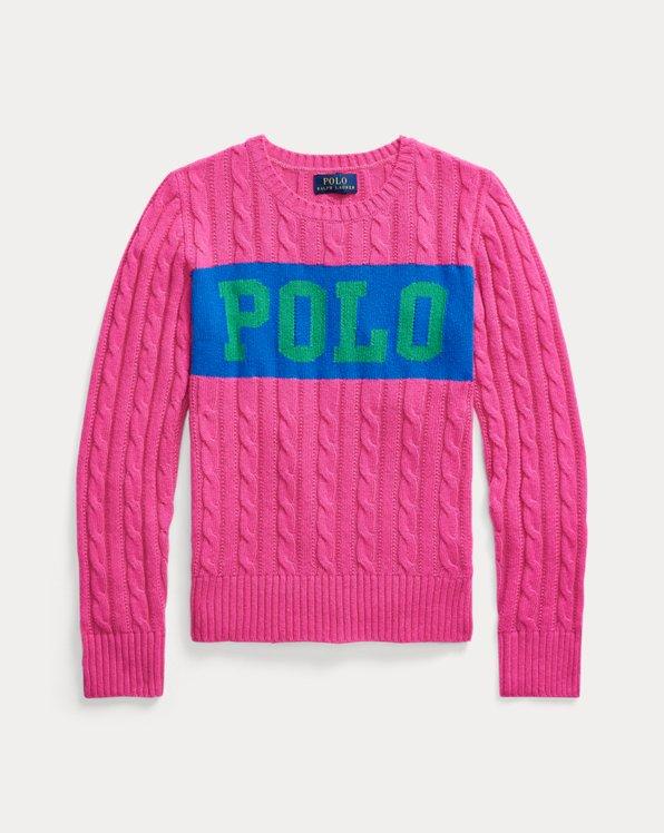 Pullover mit Zopfmuster und Logo