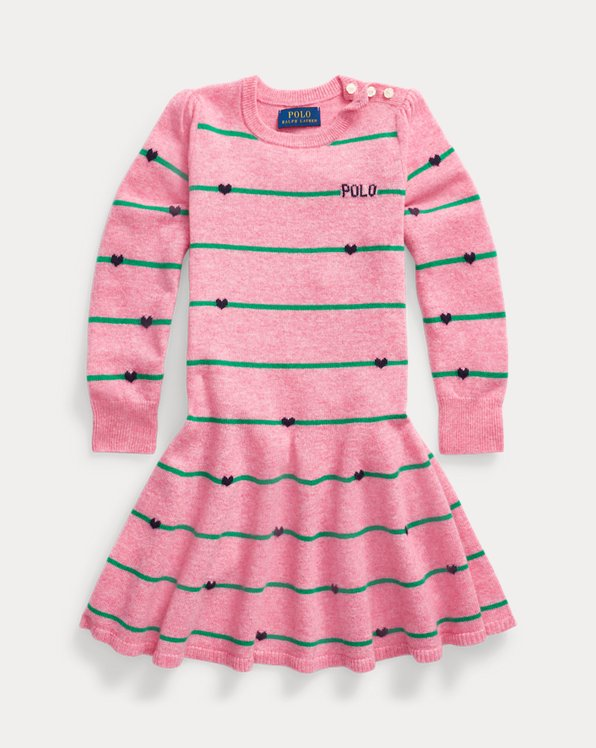 Striped Heart Wool Jumper Dress