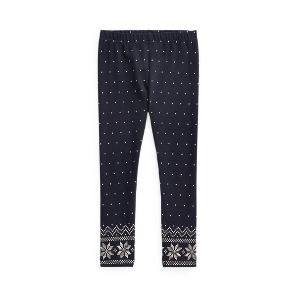 폴로 랄프로렌 여아용 레깅스 Polo Ralph Lauren Polka-Dot Stretch Jersey Legging,Navy Multi