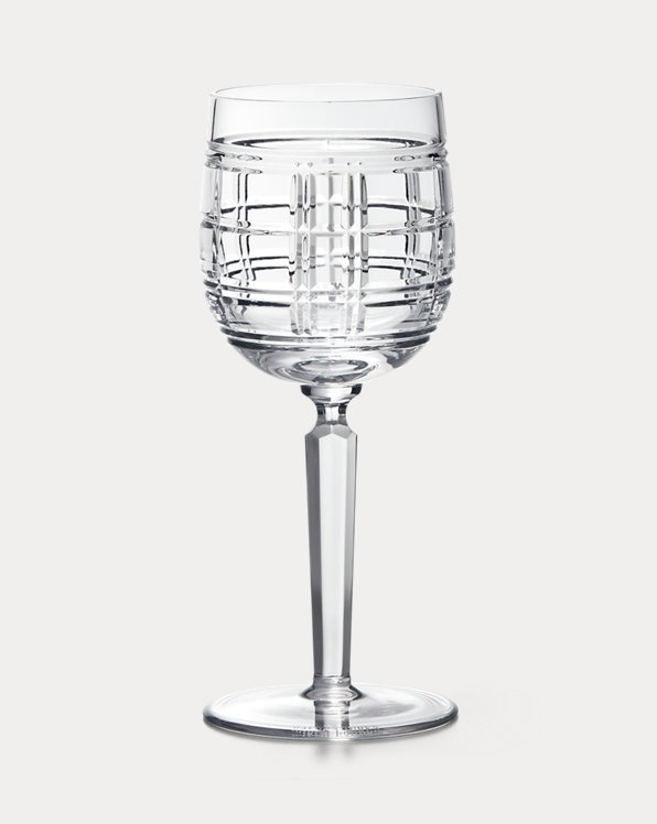 Hudson Plaid White Wine Glass