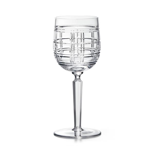 Hudson Plaid White Wine Glass