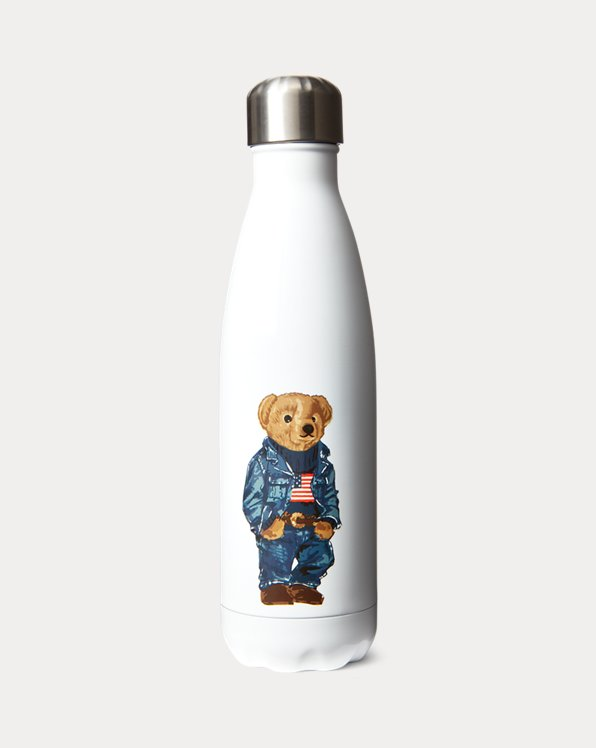 Trinkflasche mit Denim Polo Bear