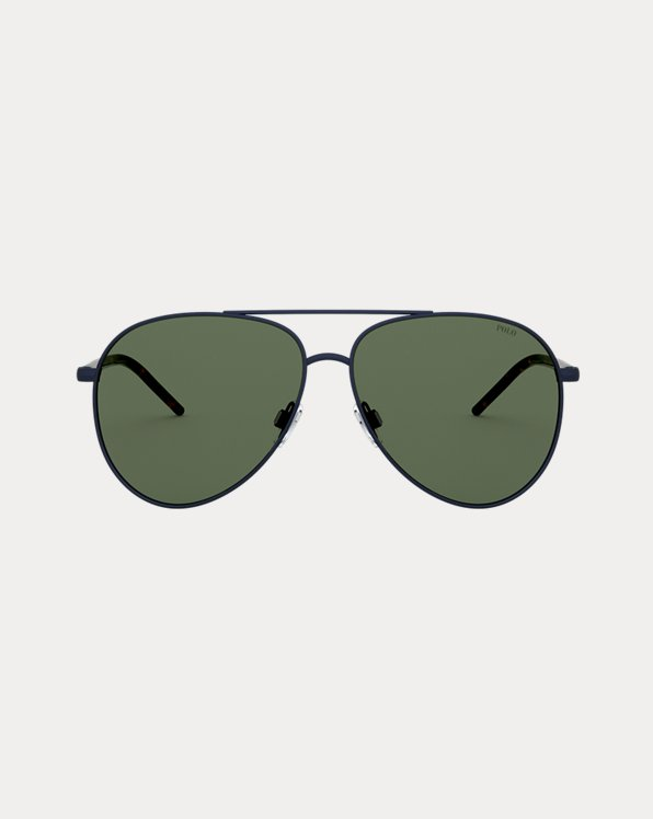 Striped Pilot Sunglasses