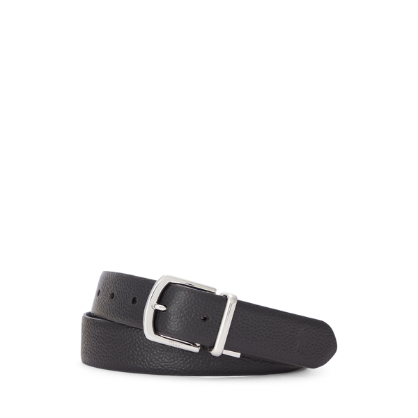 폴로 랄프로렌 Polo Ralph Lauren Reversible Pebble Leather Belt,Black/Navy