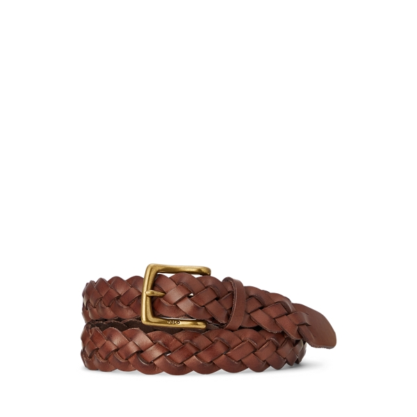폴로 랄프로렌 Polo Ralph Lauren Braided Calfskin Belt,Polo Brown