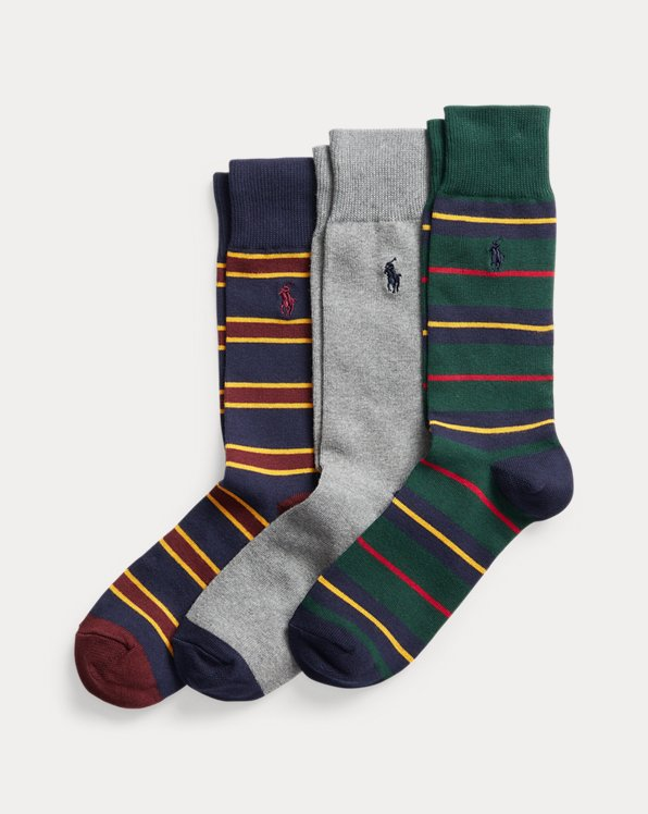 Striped & Solid Crew Sock 3-Pack