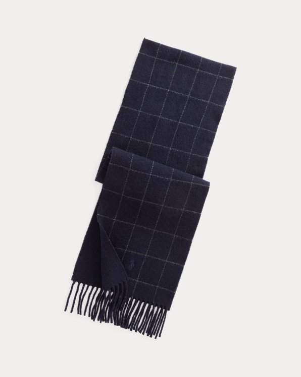 Reversible Windowpane Wool-Blend Scarf