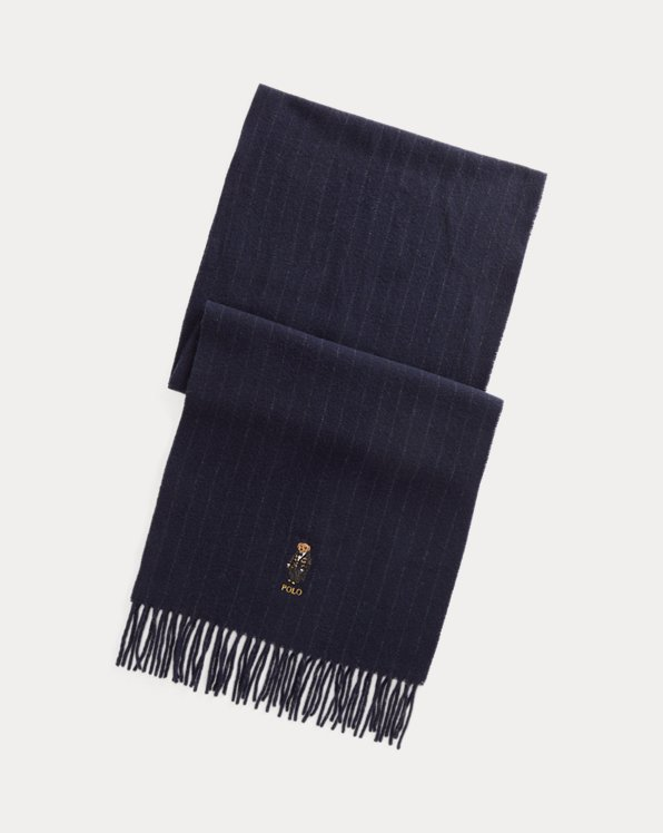 Polo Bear Pinstripe Wool-Cashmere Scarf