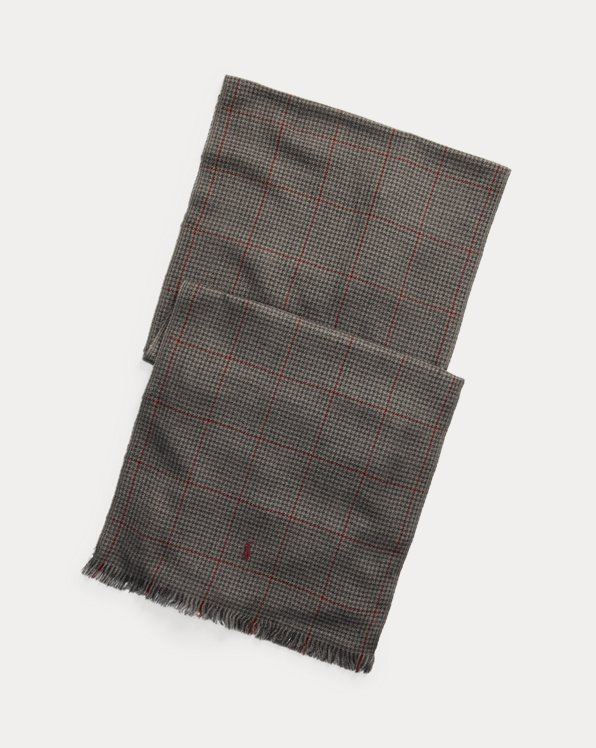 Plaid Merino Wool Scarf