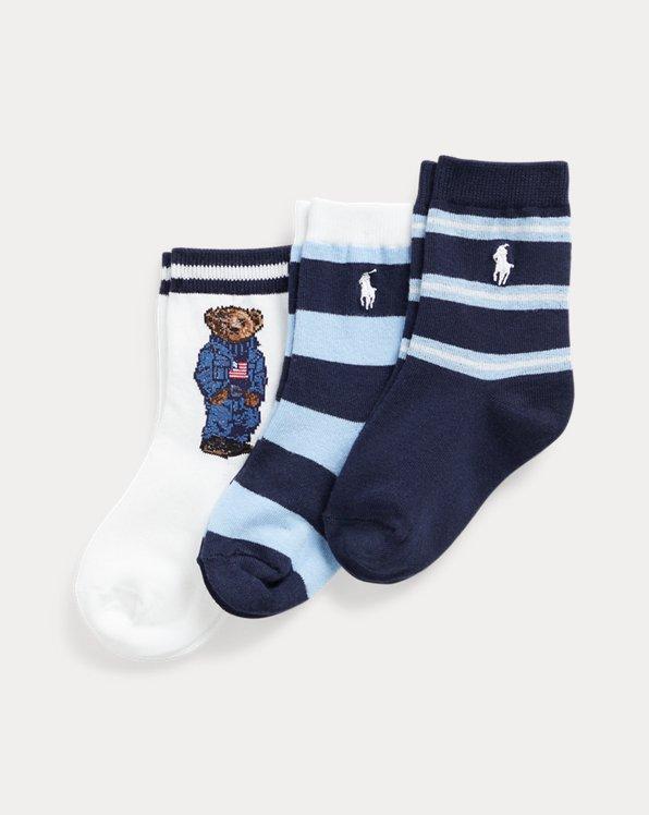 Denim Flag Bear Sock 3 Pack