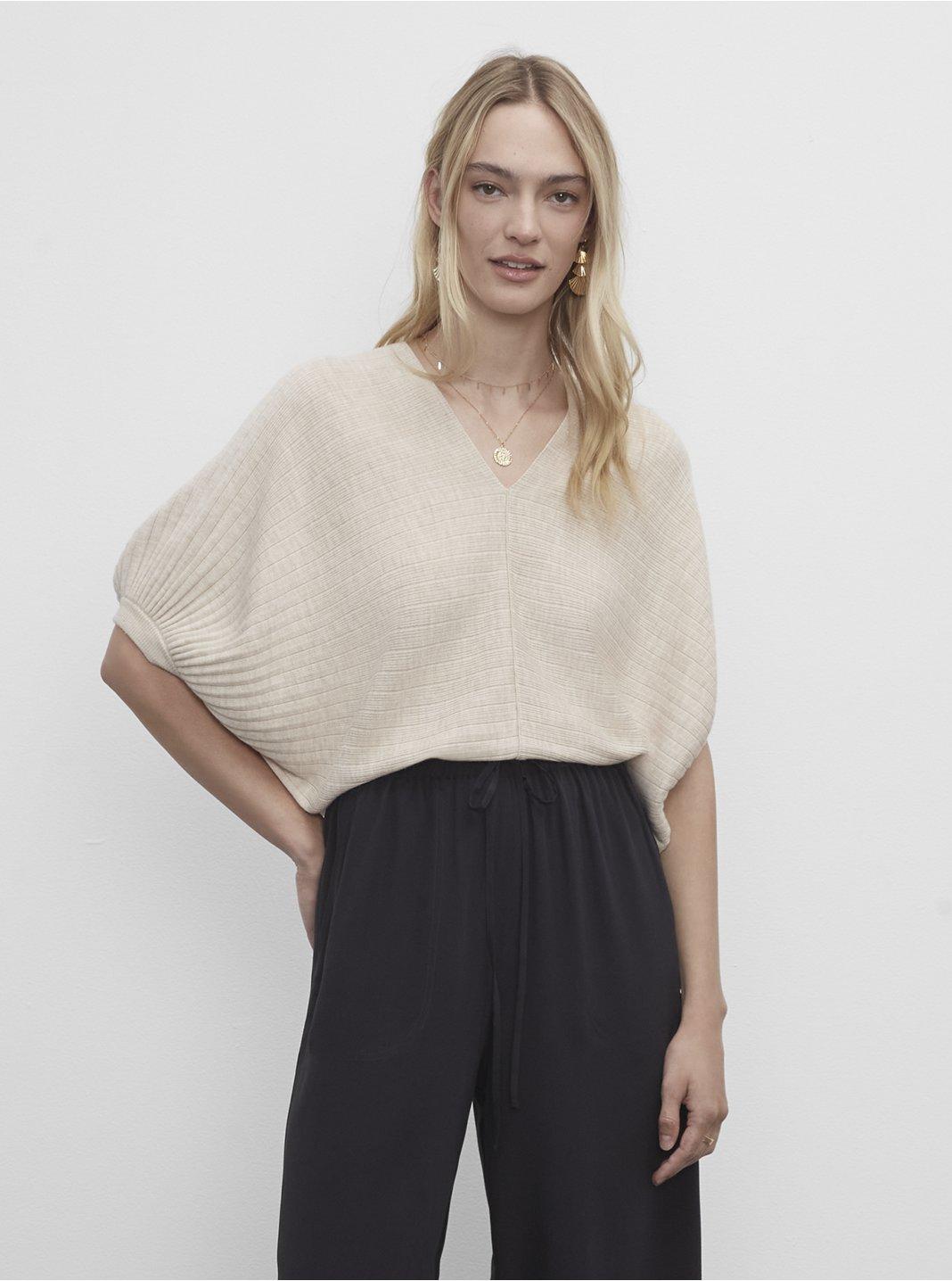 Quarter Sleeve V-Neck Sweater