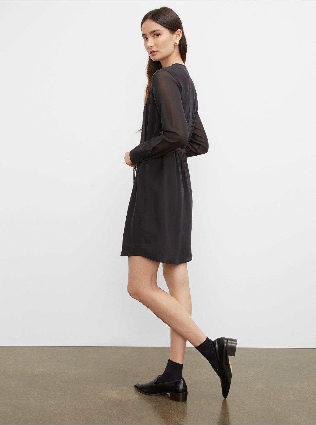 클럽 모나코 실크 셔츠 원피스 554104 Club Monaco Silk Shirt Dress,Black