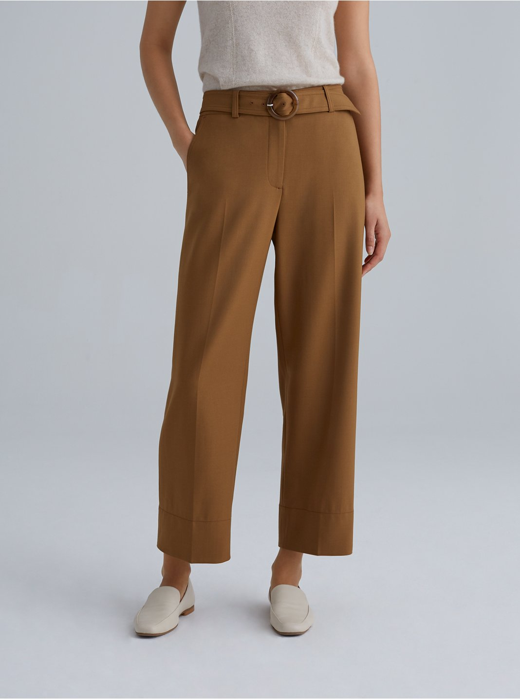 Round Buckle Belted Trouser