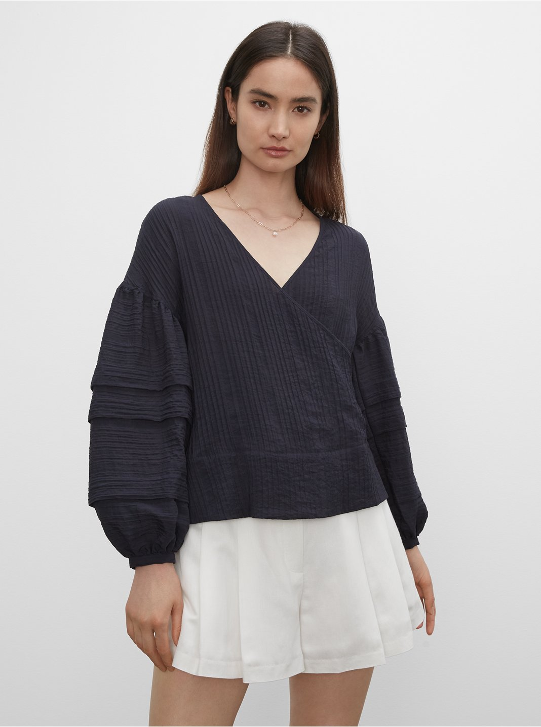 Tuck Sleeve Wrap Top