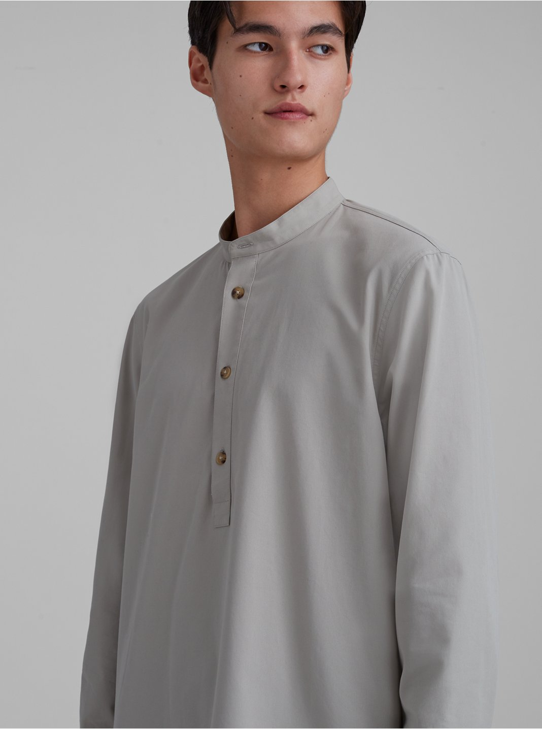 Band Collar Popover Shirt