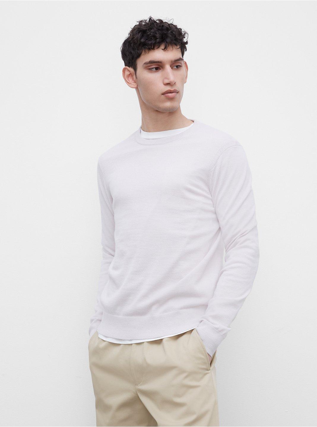 클럽 모나코 맨 메리노울 스웨터 - 실버 Club Monaco Long Sleeve Merino Sweater