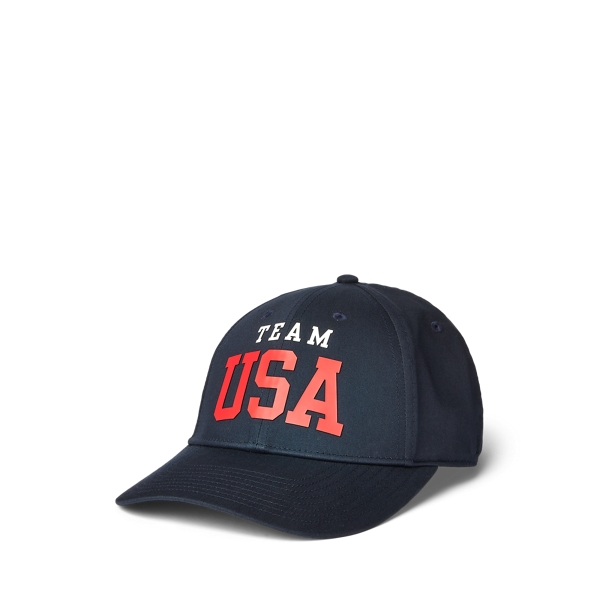 Ralph Lauren Team Usa Twill Ball Cap In Black