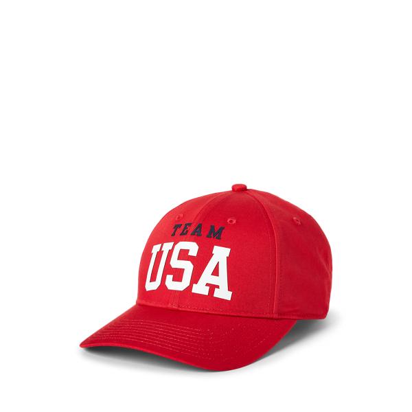 Ralph Lauren Team Usa Twill Ball Cap In Red