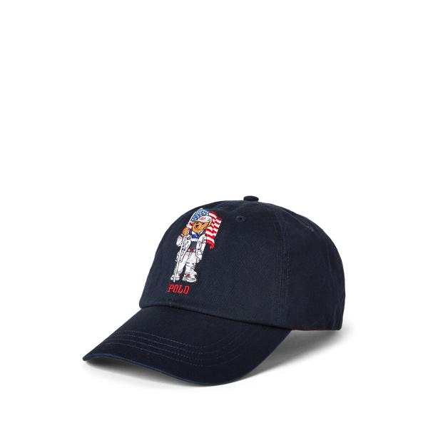 Ralph Lauren Team Usa Polo Bear Chino Ball Cap In Black