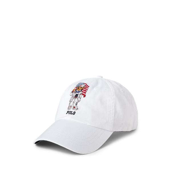 Ralph Lauren Team Usa Polo Bear Chino Ball Cap In White