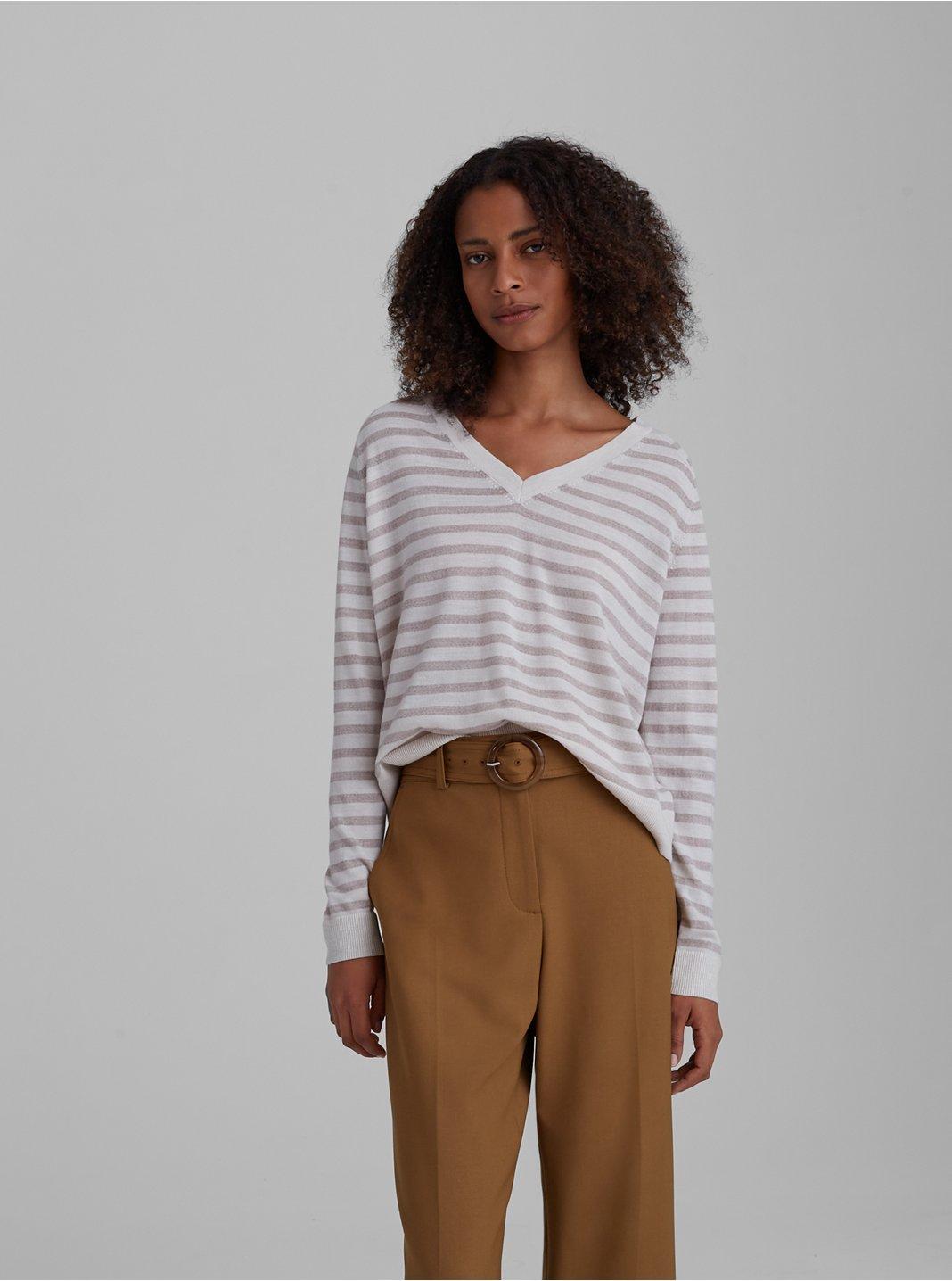 Striped Zaydie Merino Wool Sweater