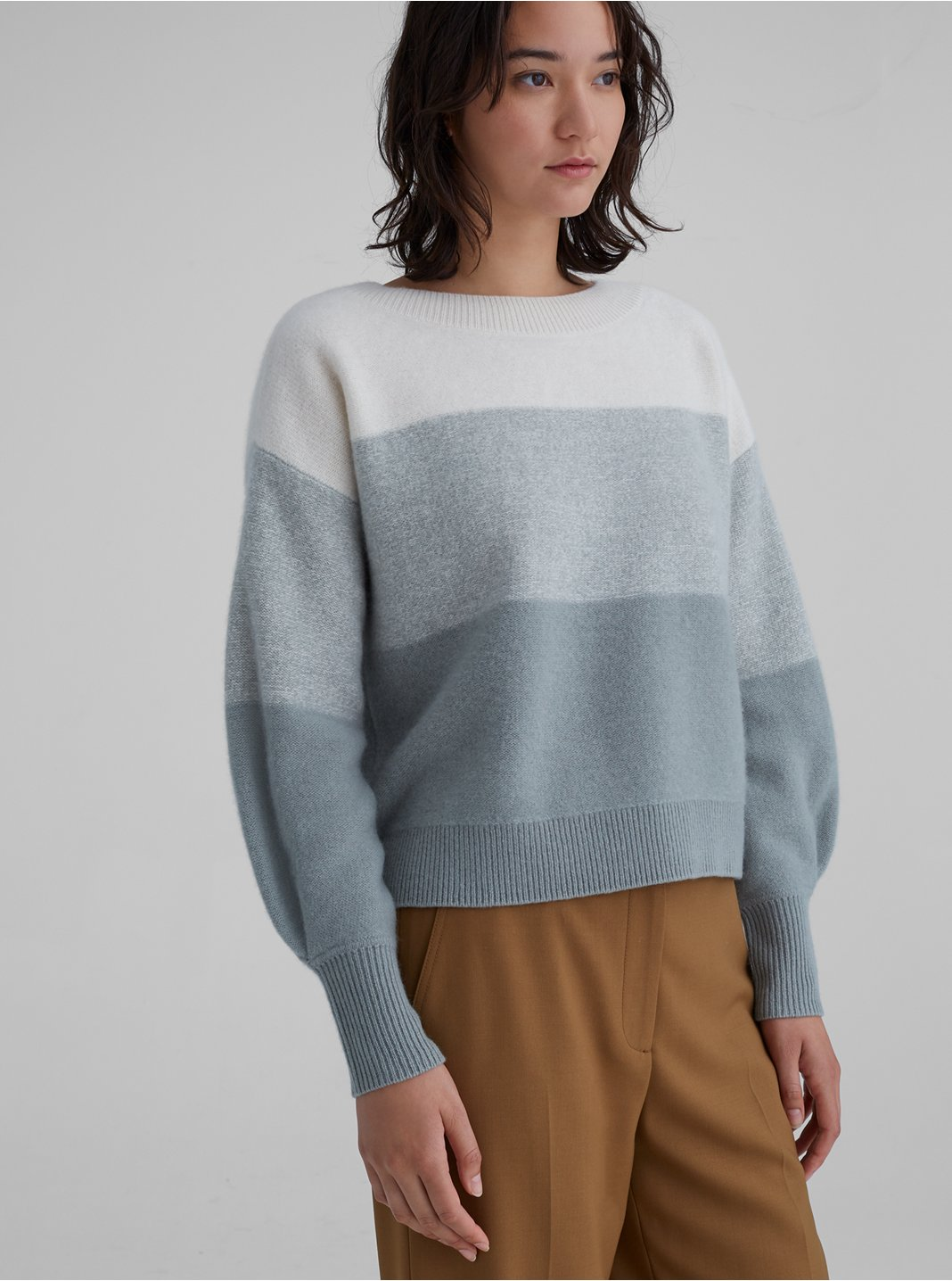 Striped Boiled Cashmere Boatneck Sweater
