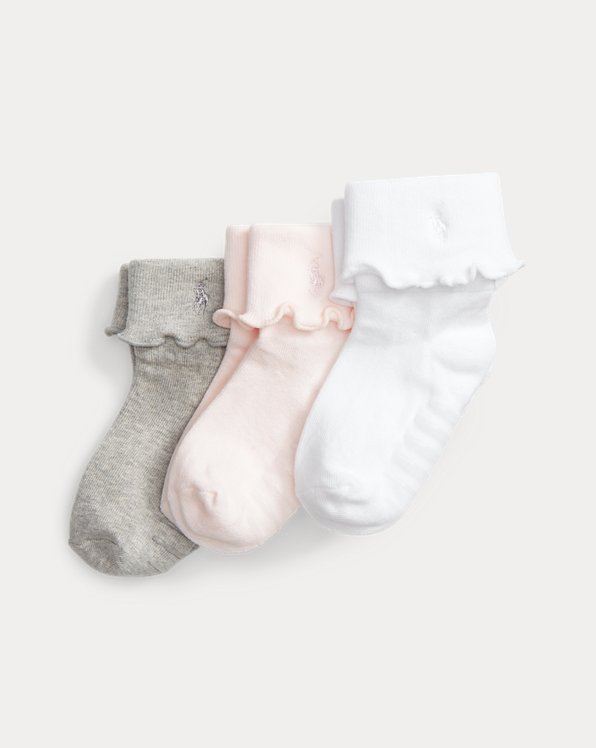 Scalloped-Cuff Sock 3-Pack