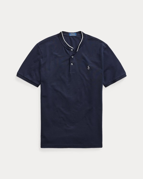 Stretch Mesh Henley Shirt