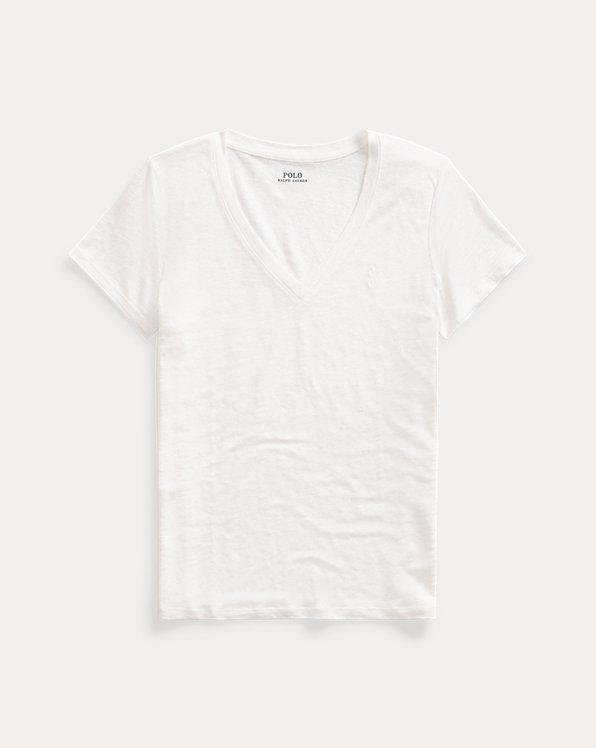 T-shirt à col en V en lin