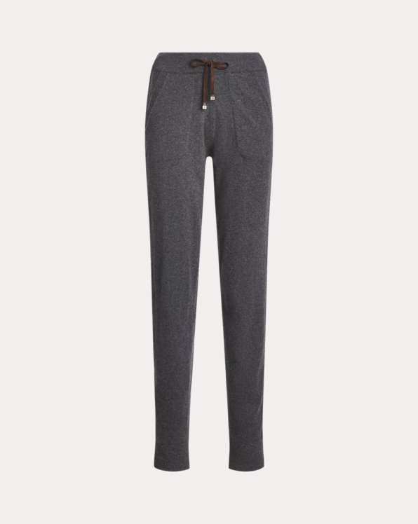 Suede-Stripe Cashmere Pant