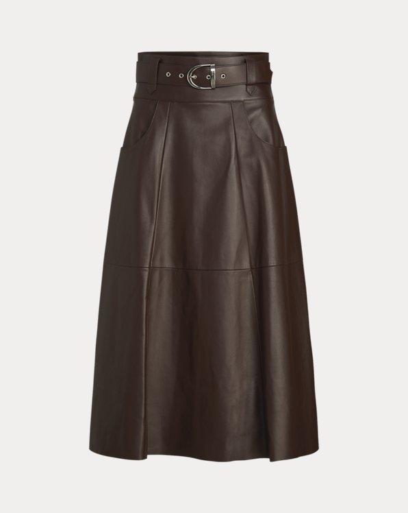 Neha Lambskin A-Line Skirt