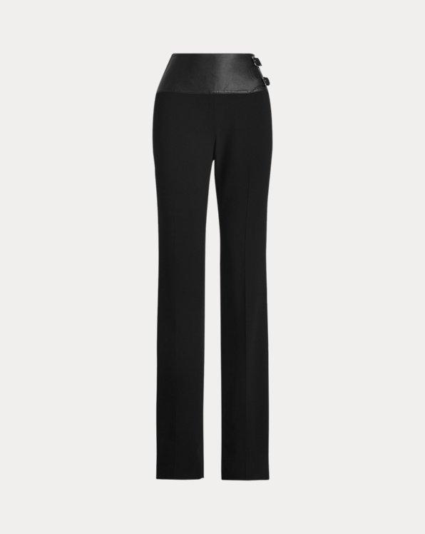 Joana Stretch Wool Lambskin-Belt Pant