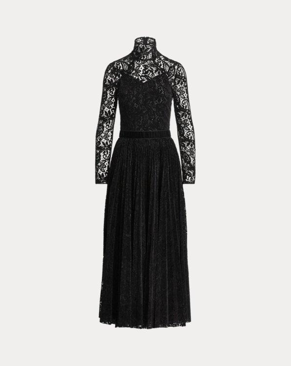 Christa Flocked Paisley Lace Dress