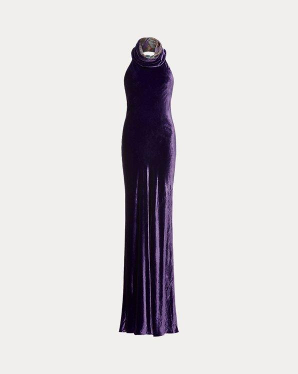 Selah Funnelneck Velvet Evening Dress