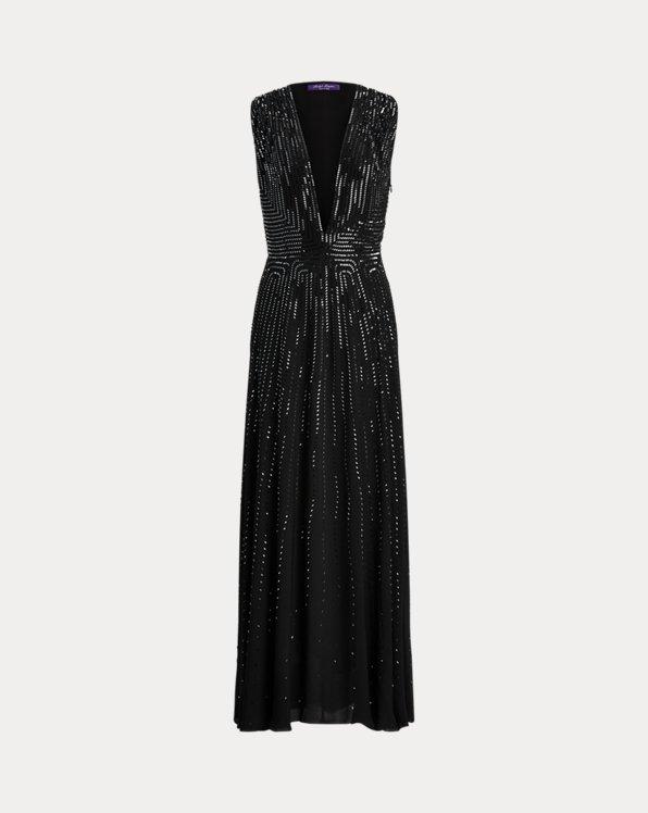 Evan Embellished Silk Georgette Dress