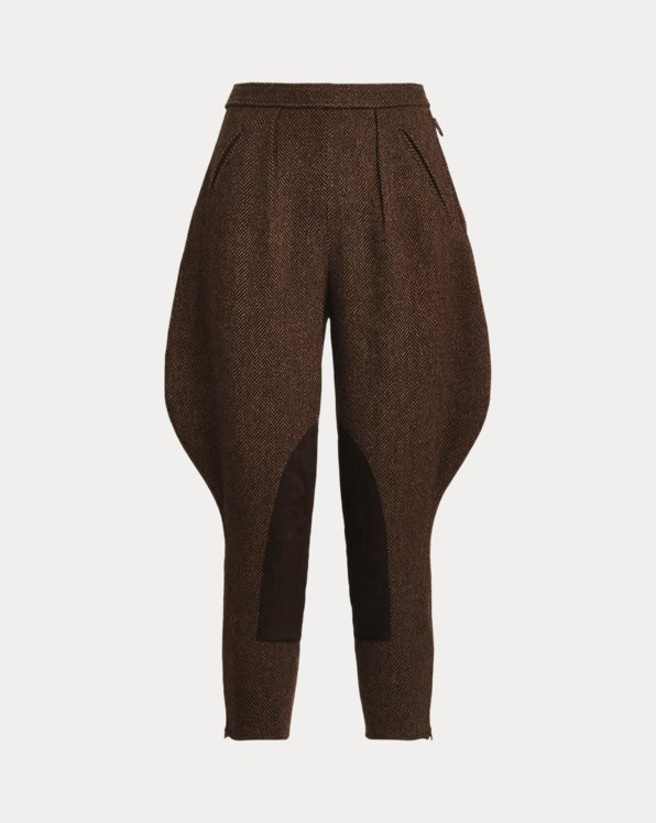 Calan Wool-Cashmere Herringbone Pant
