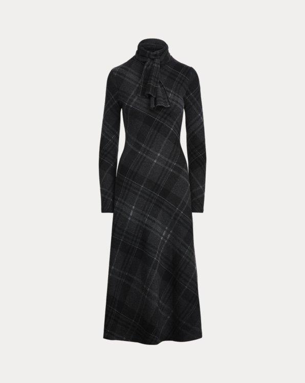 Plaid Cashmere Knit Tie-Neck Dress